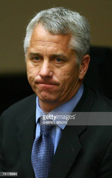 Malibu, UNITED STATES: Three-time Tour de France champion Greg LeMond reacts during his testimony, 17 May 2007, in the arbitration hearing of US...