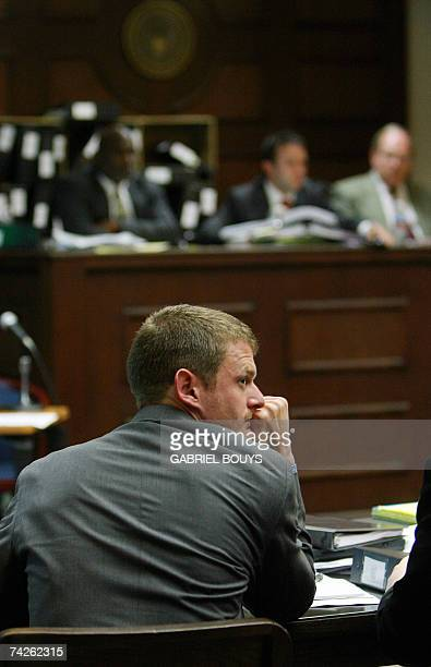 US cyclist Floyd Landis listen 23 May 2007 during the arbitration hearing at Pepperdine University in Malibu California for the 2006 Tour de France...