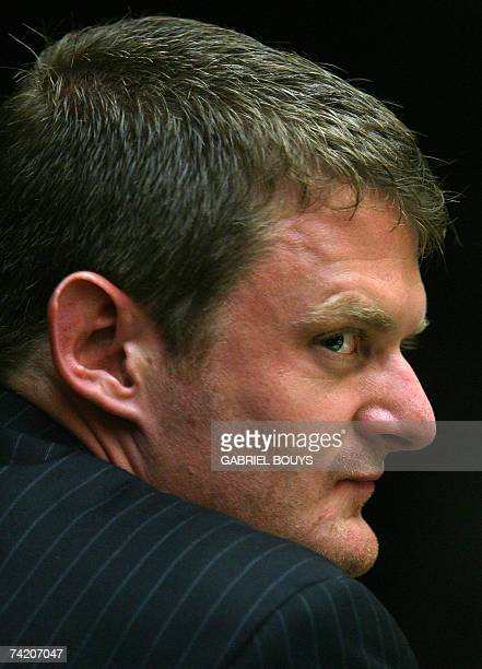 US Cyclist Floyd Landis listens 21 May 2007 during the arbitration hearing of the 2006 Tour de France champion accused of doping at Pepperdine...
