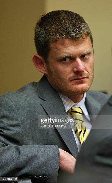 US cyclist Floyd Landis listens during the hearing on the doping allegations against the 2006 Tour de France champion at Pepperdine University 15 May...