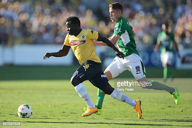 Malick Mane of the Mariners controls the ball during the round one ALeague match between the Central Coast Mariners and the Newcastle Jets at Central...