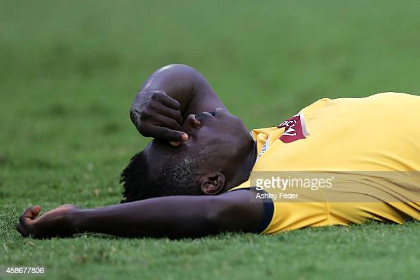 Malick Mane of the Mariners looks dejected after losing after the round five A-League match between the Central Coast Mariners and the Perth Glory at...
