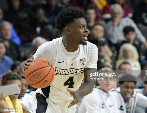 Maliek White of the Providence Friars dribbles the ball against the Villanova Wildcats at Dunkin' Donuts Center on January 5 2019 in Providence RI