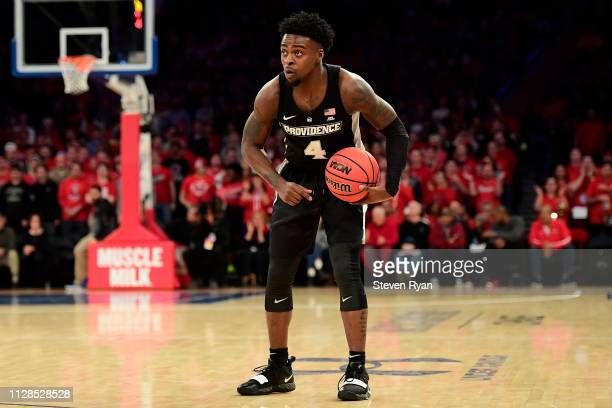Maliek White of the Providence Friars handles the ball on offense against the St John's Red Storm at Madison Square Garden on February 09 2019 in New...