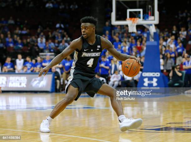 Maliek White of the Providence Friars in action during an NCAA college basketball game against the Seton Hall Pirates at Prudential Center on...