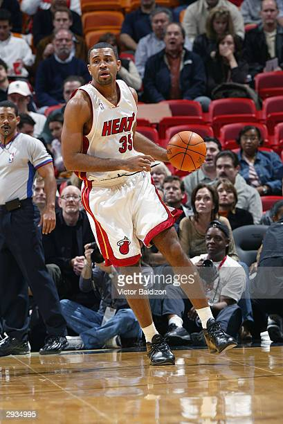 Malik Allen of the Miami Heat moves the ball during the game against the New Jersey Nets on January 23 2004 at American Airlines Arena in Miami...