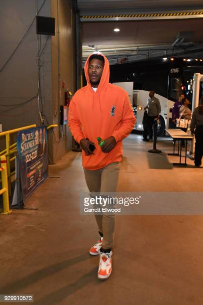 Malik Beasley of the Denver Nuggets arrives at the stadium before the game against the Los Angeles Lakers on March 9 2018 at the Pepsi Center in...