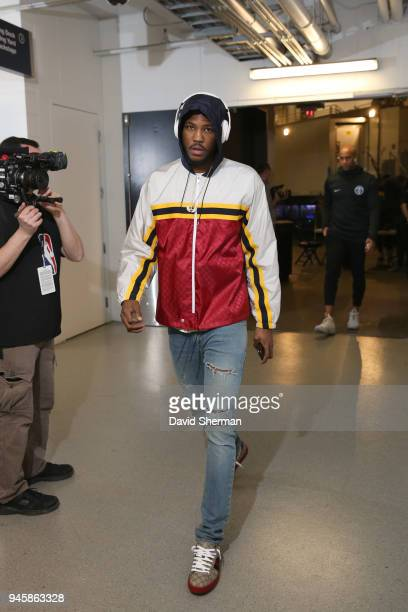Malik Beasley of the Denver Nuggets arrives before the game against the Minnesota Timberwolves on April 11 2018 at Target Center in Minneapolis...