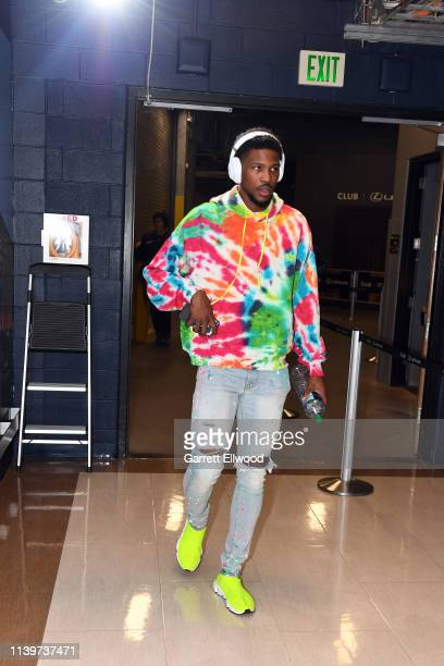 Malik Beasley of the Denver Nuggets arrives to the arena prior to Game Seven of Round One of the 2019 NBA Playoffs against the San Antonio Spurs on...
