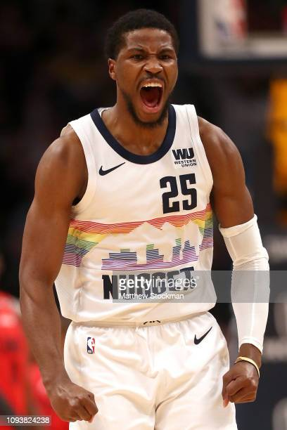 Malik Beasley of the Denver Nuggets celebrates a three point basket against the Portland Trail Blazers in the third quarter at the Pepsi Center on...