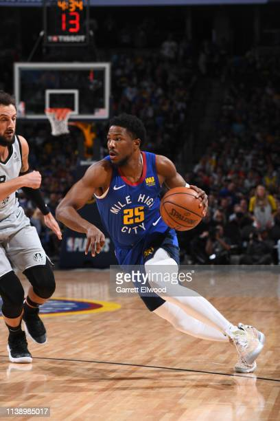 Malik Beasley of the Denver Nuggets drives to the basket against the San Antonio Spurs during Game Five of Round One of the 2019 NBA Playoffson April...