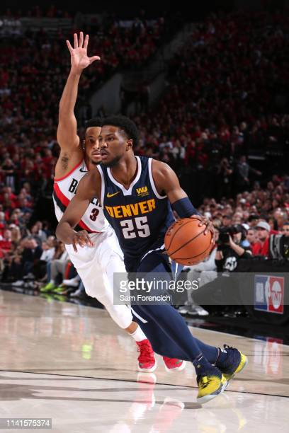Malik Beasley of the Denver Nuggets drives to the basket against the Portland Trail Blazers during Game Four of the Western Conference Semifinals of...