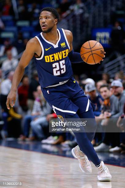 Malik Beasley of the Denver Nuggets drives with the ball during a game against the New Orleans Pelicans at the Smoothie King Center on January 30...