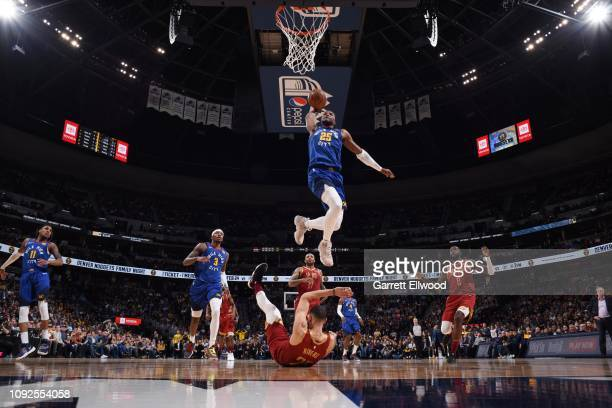 Malik Beasley of the Denver Nuggets dunks the ball against the Houston Rockets on February 1 2019 at the Pepsi Center in Denver Colorado NOTE TO USER...