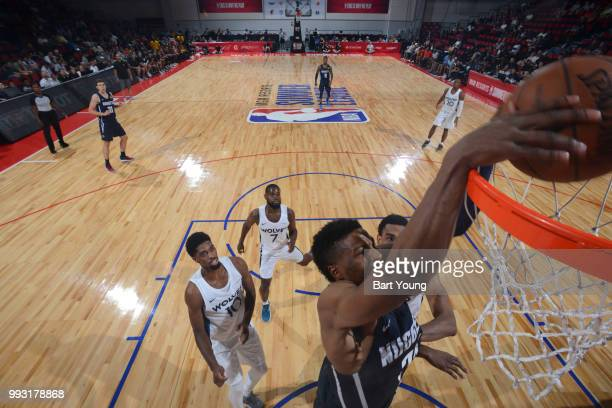 Malik Beasley of the Denver Nuggets dunks the ball against the Minnesota Timberwolves during the 2018 Las Vegas Summer League on July 6 2018 at the...