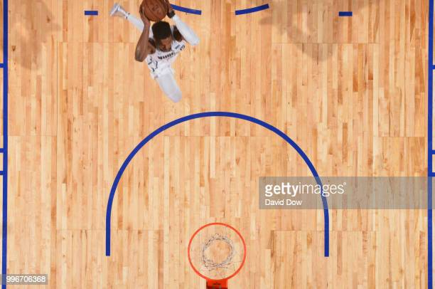 Malik Beasley of the Denver Nuggets dunks the ball against the Toronto Raptors during the 2018 Las Vegas Summer League on July 11 2018 at the Cox...