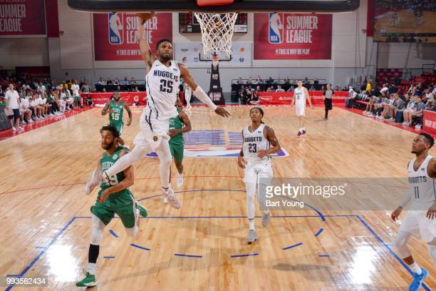 Malik Beasley of the Denver Nuggets goes up for a dunk against the Boston Celtics during the 2018 Las Vegas Summer League on July 7 2018 at the Cox...