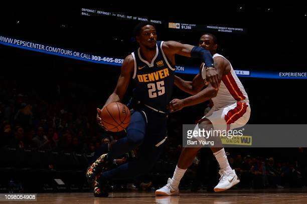 Malik Beasley of the Denver Nuggets handles the ball against the Miami Heat on February 11 2019 at the Pepsi Center in Denver Colorado NOTE TO USER...