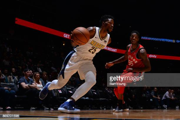 Malik Beasley of the Denver Nuggets handles the ball against the Toronto Raptors on November 1 2017 at the Pepsi Center in Denver Colorado NOTE TO...