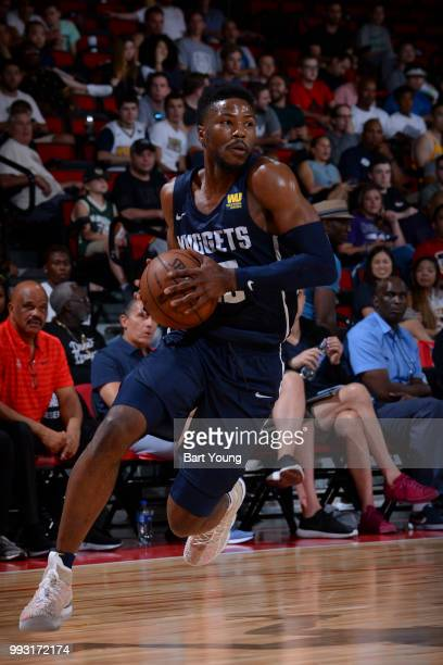 Malik Beasley of the Denver Nuggets handles the ball against the Minnesota Timberwolves during the 2018 Las Vegas Summer League on July 6 2018 at the...