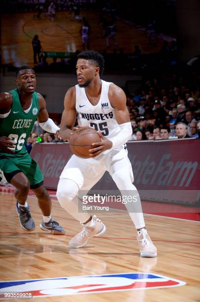 Malik Beasley of the Denver Nuggets handles the ball against the Boston Celtics during the 2018 Las Vegas Summer League on July 7 2018 at the Cox...
