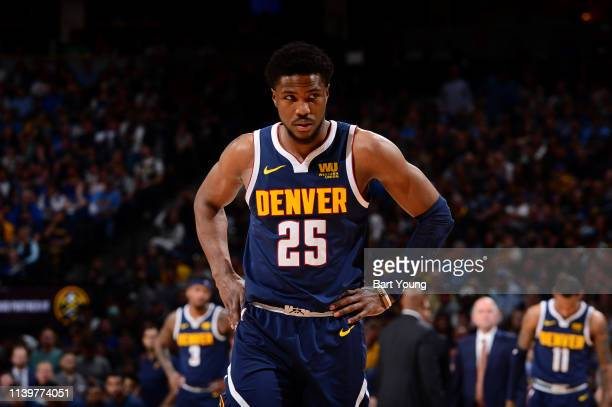 Malik Beasley of the Denver Nuggets looks on against the San Antonio Spurs during Game Seven of Round One of the 2019 NBA Playoffs on April 27 2019...