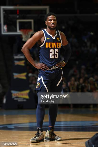 Malik Beasley of the Denver Nuggets looks on during the game against the Memphis Grizzlies on January 28 2019 at FedExForum in Memphis Tennessee NOTE...