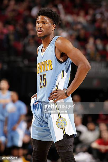 Malik Beasley of the Denver Nuggets looks on during the game against the Portland Trail Blazers on November 13 2016 at the Moda Center in Portland...