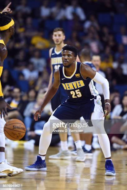 Malik Beasley of the Denver Nuggets plays defense against the Los Angeles Lakers on October 4 2017 at Citizens Business Bank Arena in Los Angeles...