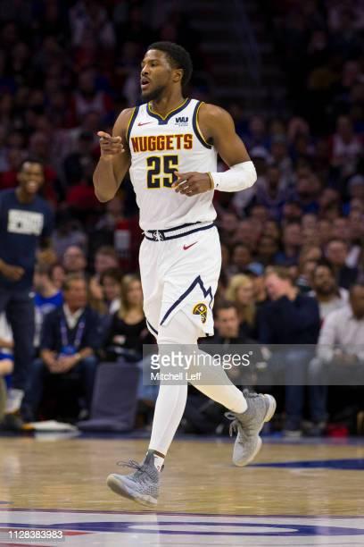 Malik Beasley of the Denver Nuggets points against the Philadelphia 76ers at the Wells Fargo Center on February 8 2019 in Philadelphia Pennsylvania...