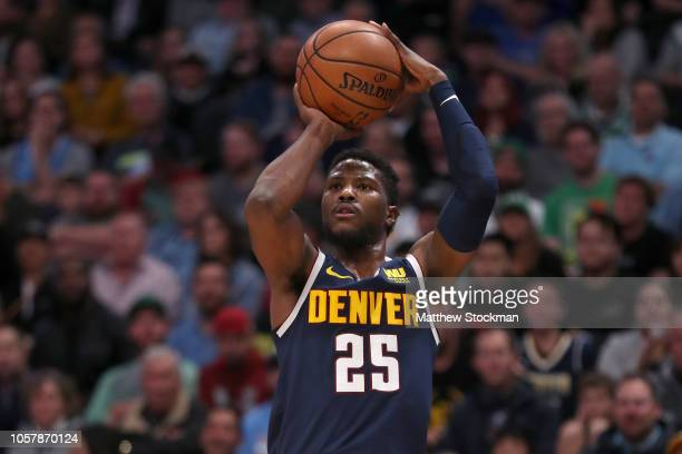 Malik Beasley of the Denver Nuggets puts up a shot against the Boston Celtics in the second quarter at the Pepsi Center on November 5 2018 in Denver...