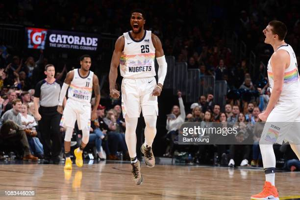 Malik Beasley of the Denver Nuggets reacts to a play during the game against the Portland Trail Blazers on January 13 2019 at the Pepsi Center in...