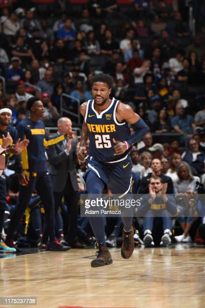 Malik Beasley of the Denver Nuggets reacts to play against the LA Clippers during the preseaspn on October 10 2019 at STAPLES Center in Los Angeles...