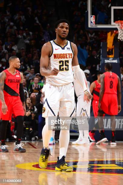 Malik Beasley of the Denver Nuggets reacts to play against the Portland Trail Blazers during Game Two of the Western Conference Semifinals of the...