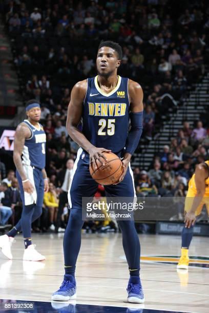 Malik Beasley of the Denver Nuggets shoots a free throw against the Utah Jazz on November 28 2017 at vivintSmartHome Arena in Salt Lake City Utah...
