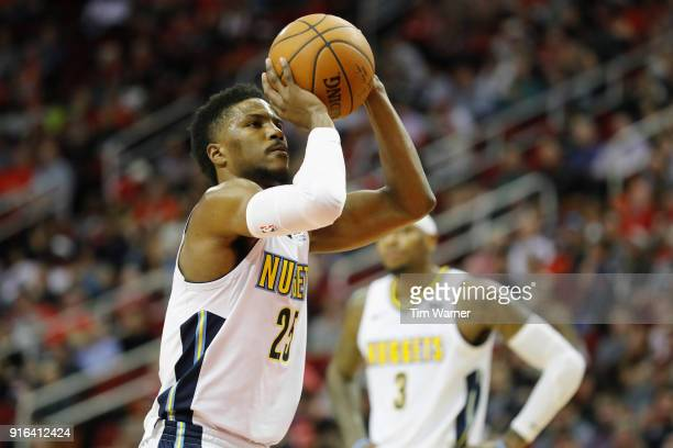 Malik Beasley of the Denver Nuggets shoots a technical foul in the second half against the Houston Rockets at Toyota Center on February 9 2018 in...