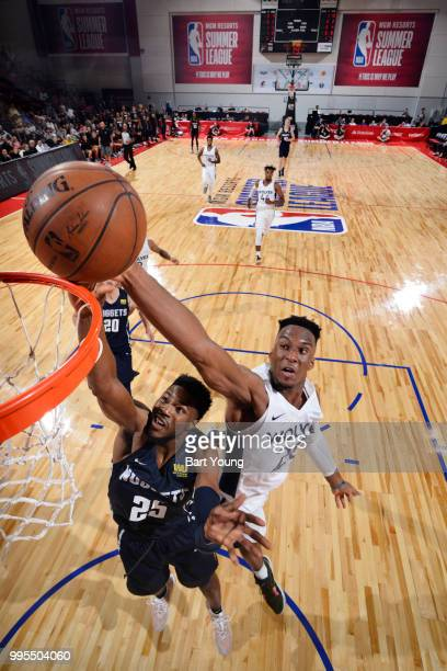 Malik Beasley of the Denver Nuggets shoots the ball against Josh Okogie of the Minnesota Timberwolves during the 2018 Las Vegas Summer League on July...