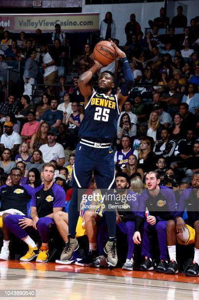 Malik Beasley of the Denver Nuggets shoots the ball against the Los Angeles Lakers during a preseason game on September 30 2018 at Valley View Casino...