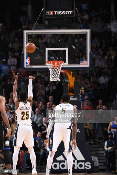 Malik Beasley of the Denver Nuggets shoots the ball against the Milwaukee Bucks on April 1 2018 at the Pepsi Center in Denver Colorado NOTE TO USER...