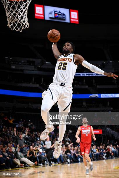 Malik Beasley of the Denver Nuggets shoots the ball against the Perth Wildcats during a preseason game on October 5 2018 at Pepsi Center in Denver...
