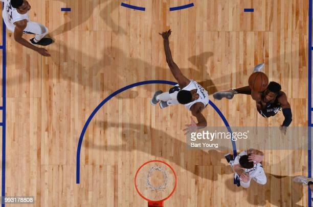 Malik Beasley of the Denver Nuggets shoots the ball against the Minnesota Timberwolves during the 2018 Las Vegas Summer League on July 6 2018 at the...