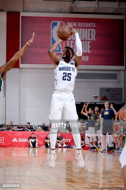 Malik Beasley of the Denver Nuggets shoots the ball against the Boston Celtics during the 2018 Las Vegas Summer League on July 7 2018 at the Cox...