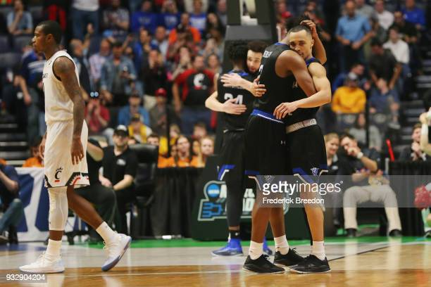 Malik Benlevi and Isaiah Williams of the Georgia State Panthers hug against the Cincinnati Bearcats during the game in the first round of the 2018...