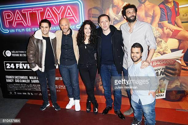 Malik Bentalha Franck Gastambide Sabrina Ouazani Gad Elmaleh Ramzy Bedia and Anouar Toubali attend Pattaya Paris Premiere at Cinema Gaumont Opera on...