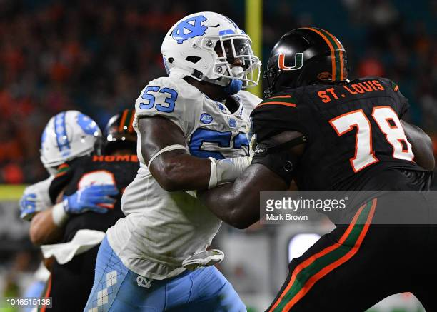 Malik Carney of the North Carolina Tar Heels in action against the Miami Hurricanes at Hard Rock Stadium on September 27 2018 in Miami Florida