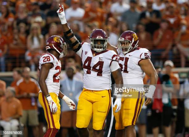 Malik Dorton of the USC Trojans celebrates after a tackle in the first quarter against the Texas Longhorns at Darrell K RoyalTexas Memorial Stadium...