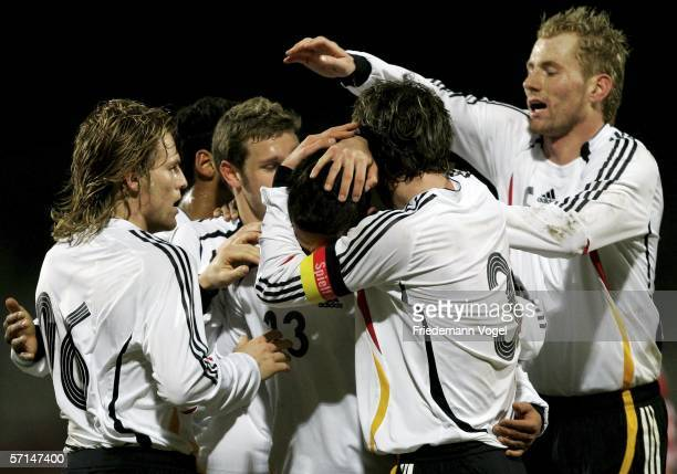 Malik Fathi celebrates scoring the third goal with Christian Schulz Eugen Polanski and Lukas Sinkiewicz of Germany during the Under 21 friendly match...