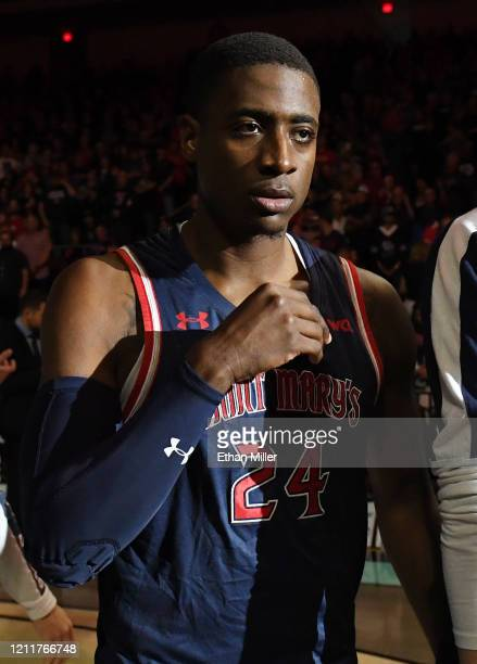 Malik Fitts of the Saint Mary's Gaels is introduced before taking on the Gonzaga Bulldogs in the championship game of the West Coast Conference...