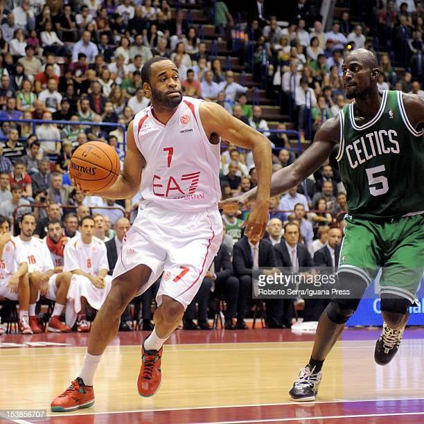 Malik Hairston of Armani competes with Kevin Garnett of Boston during the NBA Europe Live game between EA7 Emporio Armani Milano v Boston Celtics at...