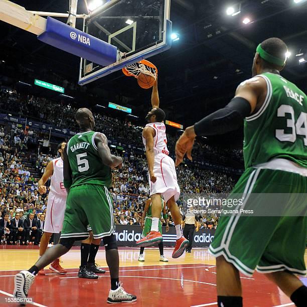 Malik Hairston of Armani in action during the NBA Europe Live game between EA7 Emporio Armani Milano v Boston Celtics at Mediolanum Forum on October...